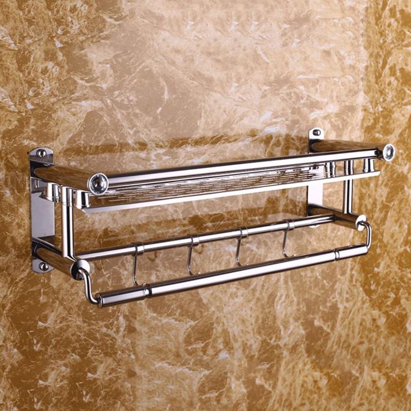 لكمة خالية حمام من الفولاذ المقاوم للصدأ منشفة رف حامل قماش متعدد الوظائف مع السنانير أداة معلقة للمنزل HE