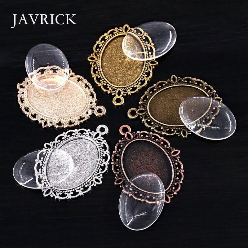60 uds. Bandejas colgantes de 5 colores ovaladas con biseles, azulejos de cúpula de vidrio, herramienta para manualidades, accesorios colgantes DIY, herramienta para hacer joyas