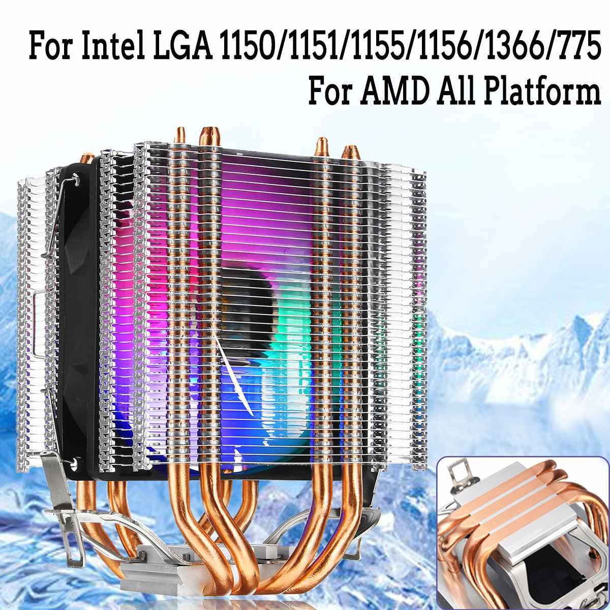 3Pin cuatro tubos de calor ventilador de refrigeración Dual Torre RGB CPU Cooler disipador de calor para Intel 775/1150/1151/1155/1156/1366 y AMD para HUANANZHI