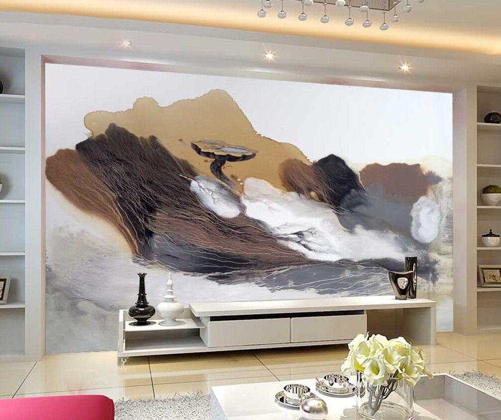 Custom background wall freehand mountain painting art living room bedroom background wallpaper 3d wallpaper mural wallpaper