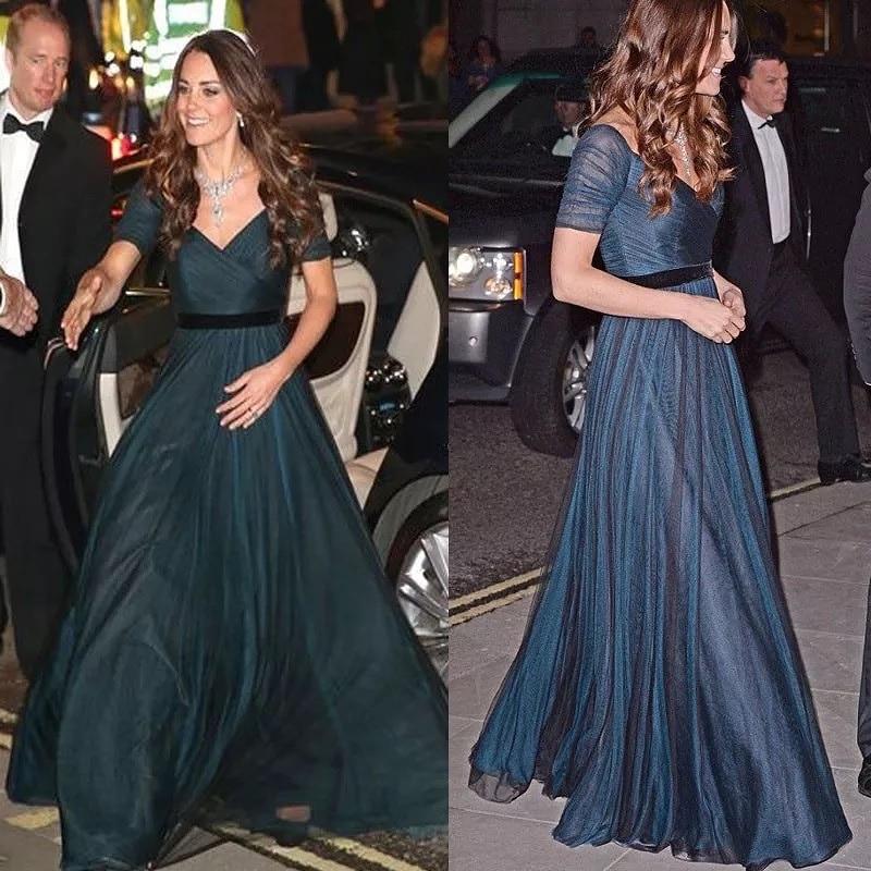 Kate Middleton فساتين المشاهير قبالة الكتف الأزرق الداكن A خط الشيفون قصيرة الأكمام الخامس الرقبة الرسمية حفلة سهرة فساتين حفلات 2021