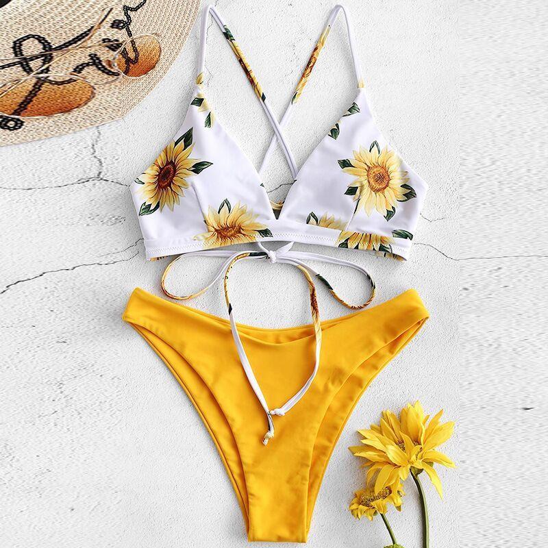 ¡Novedad de 2020! ¡venta al por mayor! Bañador bikin bikini fisión con cordones sexy estampado europeo y americano a través de la frontera