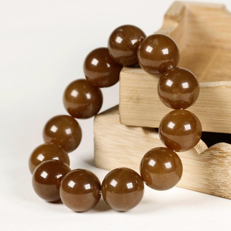 Hetian Jade Natural Sugar Jade Balls Old Pit Material Whole String of 17-18mm Bracelet with Pearl Men's Large Handwear