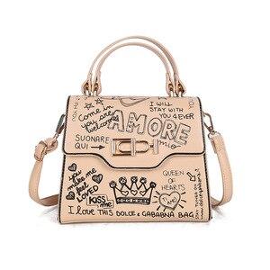 Pu Graffiti Print Shoulder Bag Personalized Fashion Shoulder Bag Temperament All-match Messenger Bag Korean  for Woman 2020 New