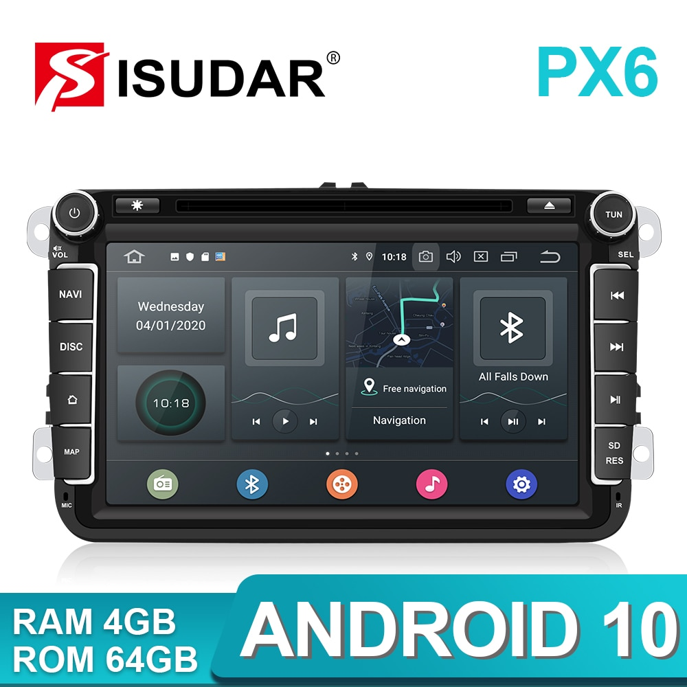 Rádio do carro do andróide 10 do ruído de isudar px6 2 para skoda/seat/volkswagen/vw/passat b7/polo/golfe 5 6 reprodutor multimídia automático dvd gps dvr