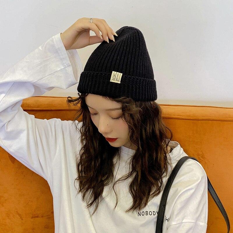 Chapéu de malha chapéu de pele de melão chapéu de inverno de crochê