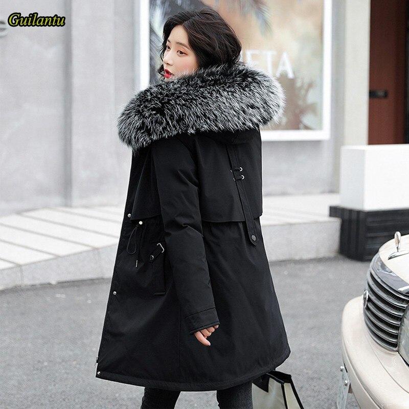 جيلانتو 2021 الشتاء الفراء طوق مقنع سترات Mujer سميكة القطن وسادة مبطنة معطف المرأة حجم كبير ضئيلة معطف طويل الإناث