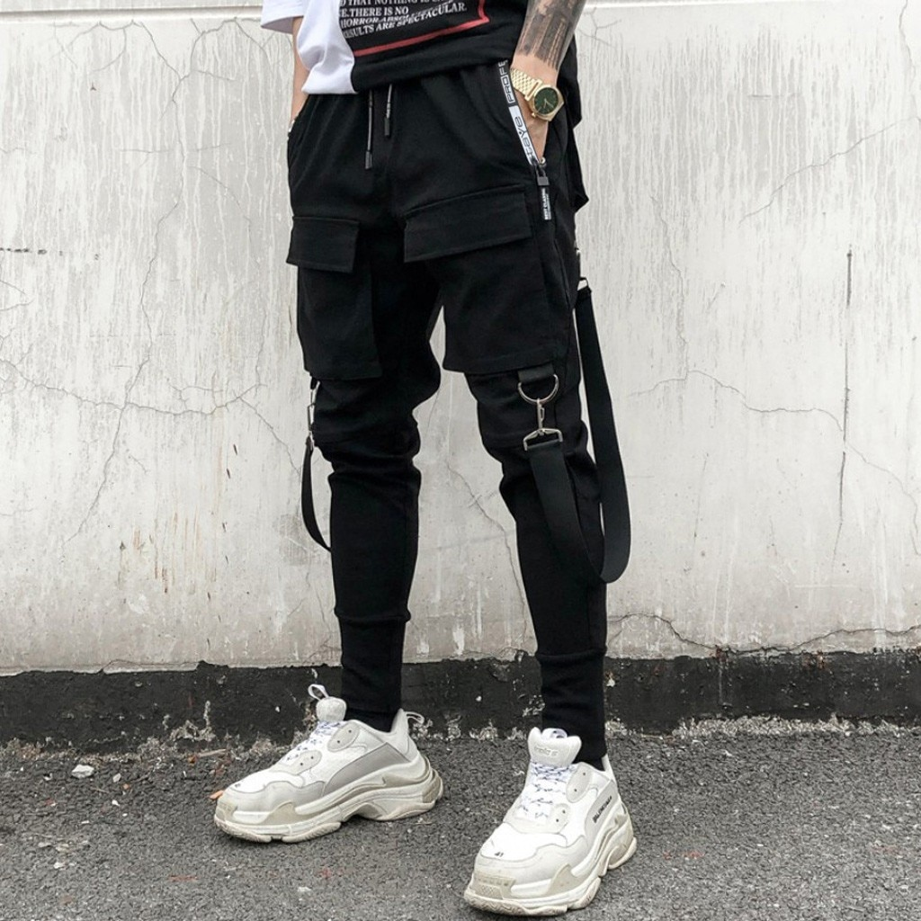 Men Hip Hop Cargo Pants Joggers Sweatpants Overalls Men Ribbons Streetwear Harem Pants Fashions Harajuku Trousers Black 2021
