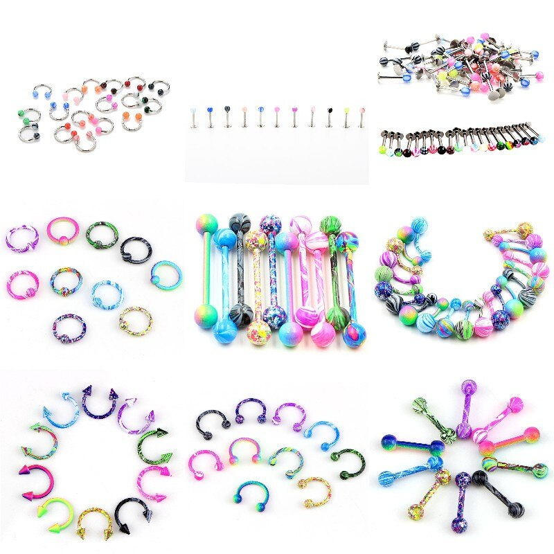 10PCS Multi-styles Tongue Piercing Ring Mix Tongue Barbell Ear Nipple Piercing Ring Fashion Women Pircing Jewelry