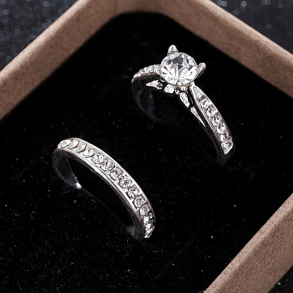 2 шт./компл. кольцо с подвеской для любителей Bijoux Femme, модные украшения с кристаллами для помолвки, свадебные кольца для мужчин и женщин Anel