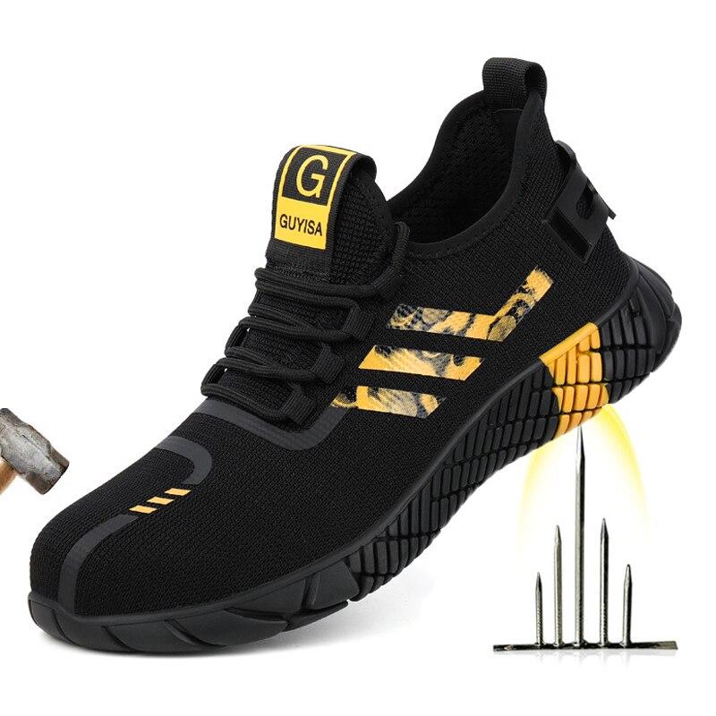 2020 جديد تنفس الرجال أحذية أمان الصلب تو عدم الانزلاق حذاء برقبة للعمل غير قابل للتدمير أحذية ثقب واقية العمل أحذية رياضية الرجال