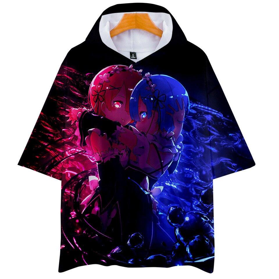 Camiseta con capucha Re Zero 3D hombres mujeres niños Rem y Ram Anime Sudadera con capucha camiseta Harajuku Streetwear camiseta ropa de marca
