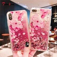 Floral flor brillo líquido de Glitter funda de silicona para Samsung Galaxy A51 A71 A50 A20 A30 A10 A40 A60 A70 A80 A20E A10S A20S de la cubierta del TPU del