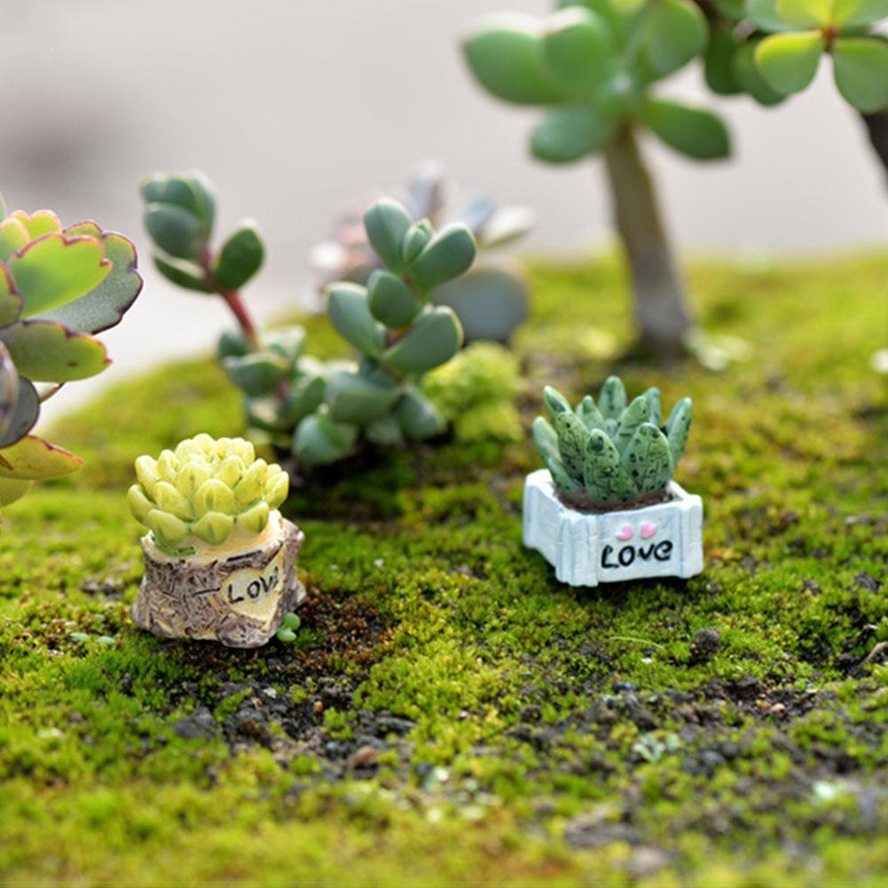 1pcs Mini Simulation Cactus Small Potted Plants Bonsai Ornament Garden Fairy Miniature Figurines Decor Garden DIY Miniature A7Q8