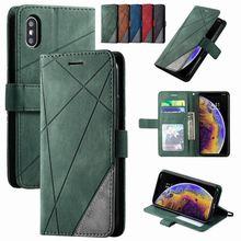 Stand Zakelijke Telefoon Holster Voor Samsung Galaxy S20 Ultra S10Plus E Note 10 Pro J600 J6 J8 2018 Ruit Streep wallet Case D21G