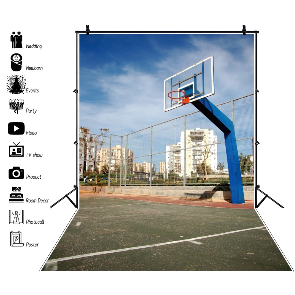 Laeacco Old Town Basket Court Playground Park Sport Match Party Blue Sky Scenic Photo Background Photographic Backdrop Photocall