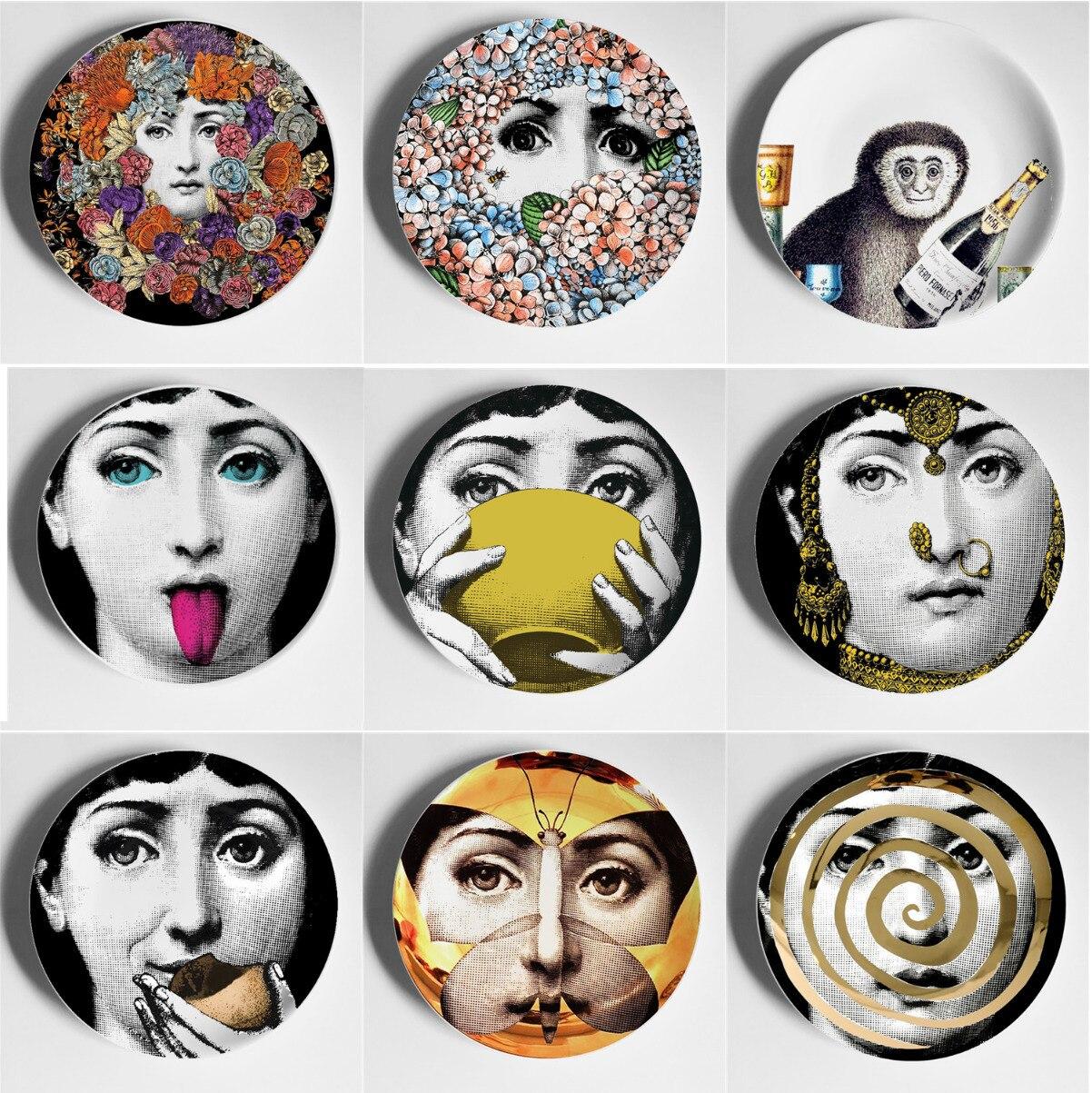 Dekorative Wand Platte Wand Dekoration Platte Kunst Platte Zimmer/haus/hotel Decor Cavalieri Lina Gesicht Keramik Handwerk Wand platten