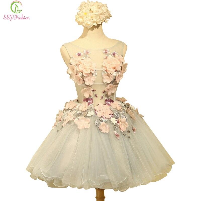 SSYFashion-فستان كوكتيل على شكل زهرة ، جديد ، للعروس ، المأدبة ، الأورجانزا ، بلا أكمام ، زينة ، ثوب كرة صغير مخصص