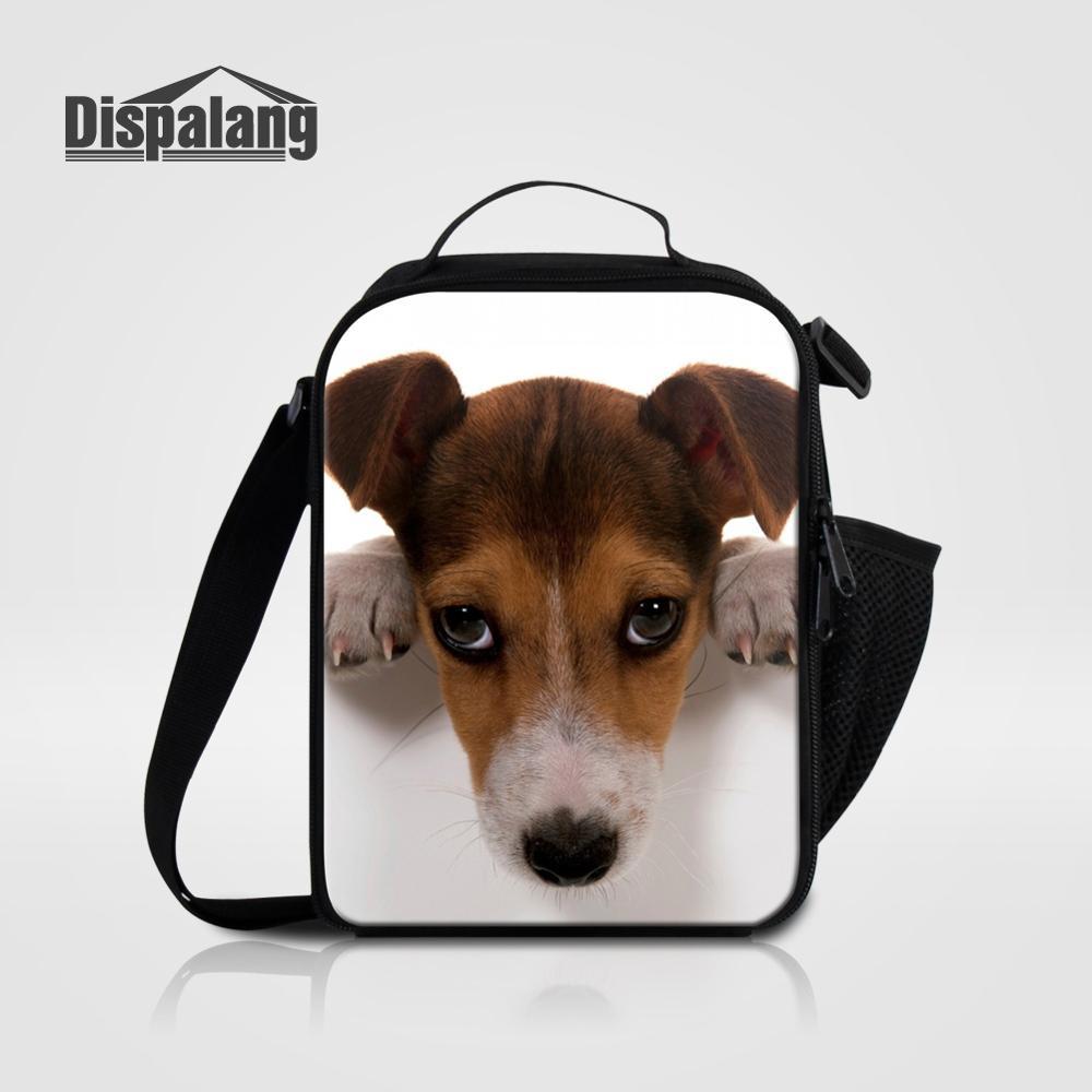 Bolsa de almuerzo Dispalang Jack Russel para niños, fiambrera de comida Animal para perros para estudiantes, bolsas refrigerantes personalizadas pequeñas para la escuela, bolsa de Picnic
