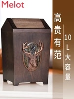 solid wood flap trash can american style retro creative household large living room bedroom kitchen covered storage container