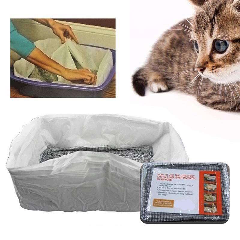 2020 gatos tamizado heces filtro 10 Uds revestimientos de bandeja de arena reutilizable filtro desodorante caja de arena higiénica manos libres elástico