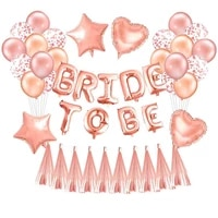 rose gold bride to be letter foil balloon heart globos hen party decorations wedding bachelorette party supplies