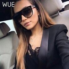 WUE Kim Kardashian Sunglasses Women Vintage Retro Flat Top Oversized Sun Glasses Square Pilot Luxury Designer Large Black Shades