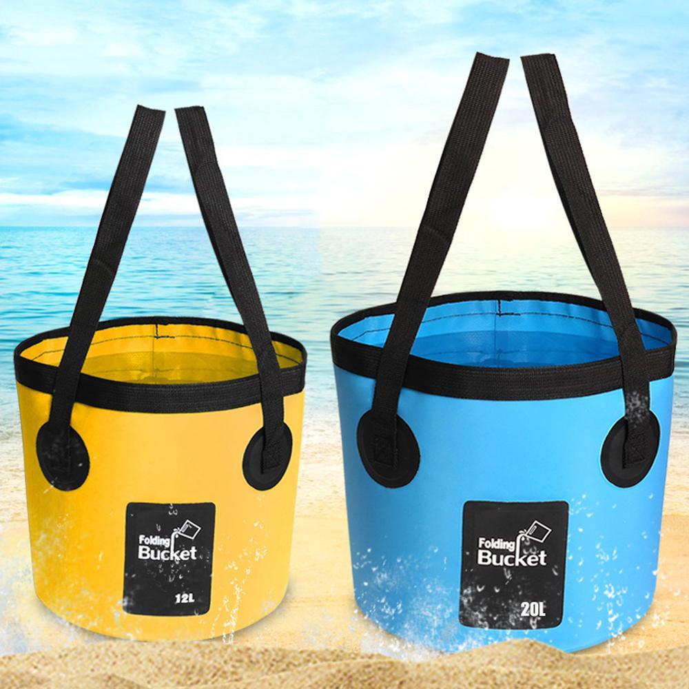Fishing Bucket Folding Bucket Outdoor Convenient Fishing Box Car Wash Bucket Integrated Molding 12L 20L Folding Bucket enlarge