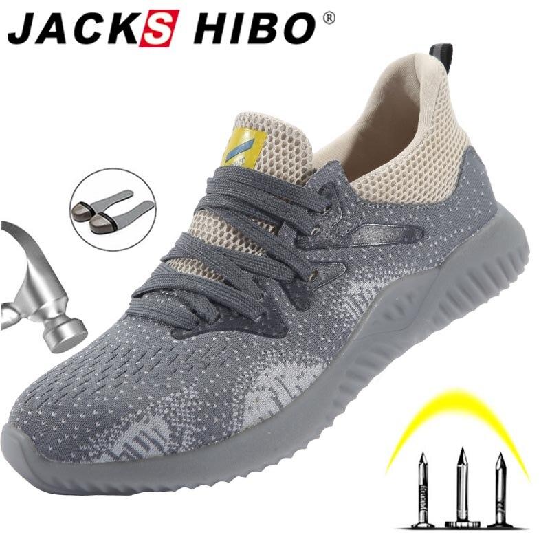 JACKSHIBO chaussures de travail de sécurité confortables pour hommes hommes Anti-fracassant en acier orteil foulques chaussures de Construction bottes de sécurité travail baskets