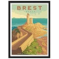 Affiche de voyage Vintage  France poitrine Pointe du Petit Minou  toile  peinture Kraft  affiches murales revetues  autocollant artistique  decor de maison imprime