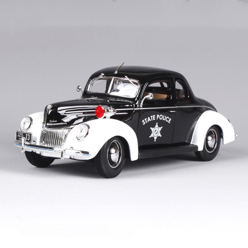 Modelo de aleación de policía estatal 118 Ford 1939 de alta calidad, modelo de coche fundido a presión simulado, regalos hermosos, envío gratis