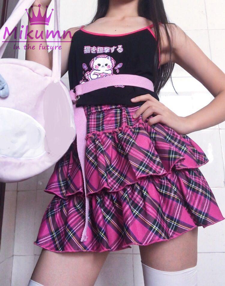 Süße Japanische Mädchen Rose Rot Plaid Geflochten Rock Frauen Sommer Kawaii Lolita Kuchen Mini Röcke