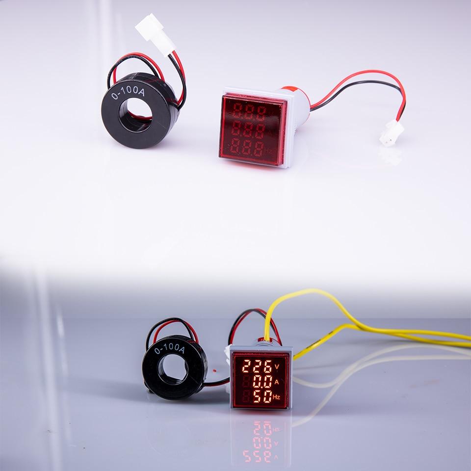 Купить с кэшбэком Digital 3in1 AC Ammeter Voltmeter  Frequency Meter Square Signal Light 22mm  Voltage Amp Hz Led Lamp Indicator