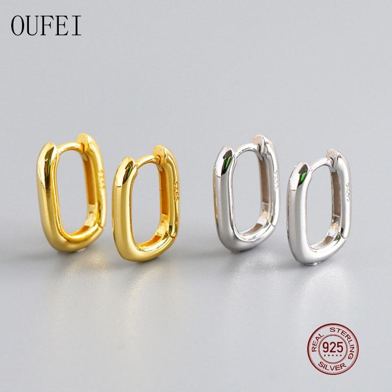 OUFEI 925 Sterling Silver Simple Earrings For Women Fashion Hoop 100%925 Luxury jewelry