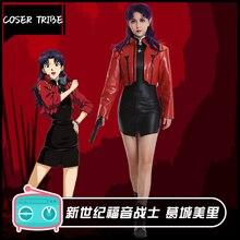 Anime Neon Genesis Evangelion EVA Katsuragi Misato Ver. Red jacket Tights Uniform  Cosplay Costume Halloween Free Ship.