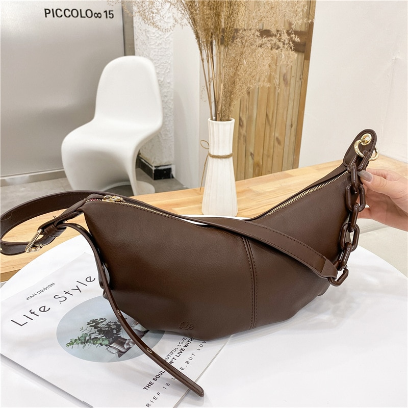 Women High Quality Soft Leather Shoulder Crossbody Bags for Women 2021 Vintage Solid Color Chains Ba