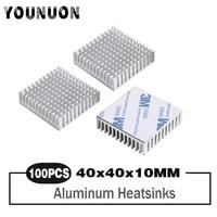 100pcs younuon heatsink 40x40x11mm golden anodize aluminum heat sink radiator with 9448a 3m tape
