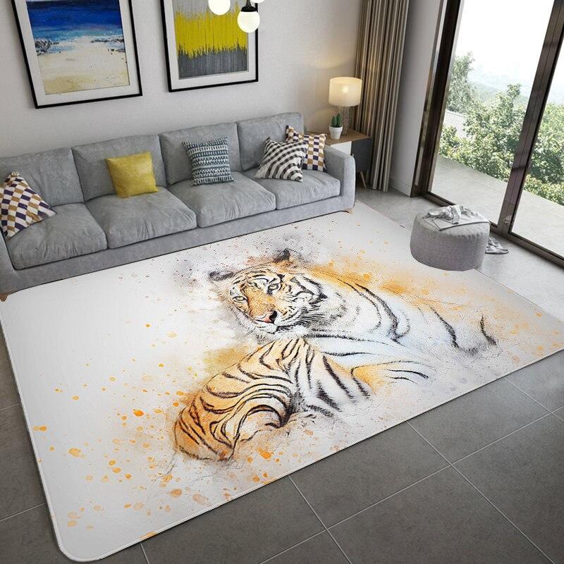 Alfombras modernas con diseño de tigre en 3d de nordice, alfombra para sala de estar, sofá rectangular, mesa de café, habitación de niños, estera para suelo, dormitorio, salón para gatear de bebés