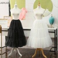 JIERUIZE White Black Organza Petticoats 80cm long Crinoline Bridal Petticoats Underskirt For Wedding Dress