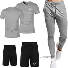 2021 summer fashion casual brand men's quick-drying T-shirt shorts suit track suit + men's sports tr