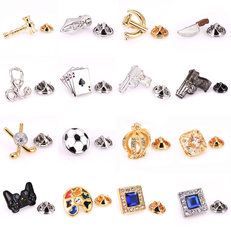 Brooches Lapel Pin sports Badges Men Jewelry Trendy Vintage Boxing glove Football pistol golf Chess