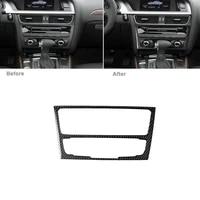 carbon fiber console cd panel sticker trim fit for audi a4 b8 a5 q5 b7 2009 2016