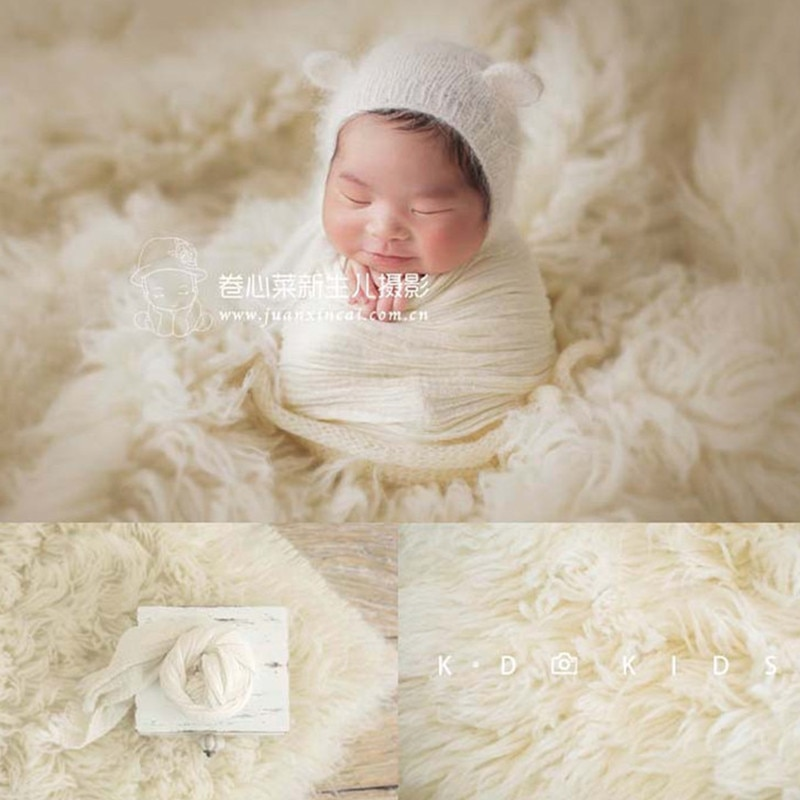 Newborn Photography Props Big Size Flokati 150x120cm Hand-Knitted Pure Greek Wool Blanket Baby Photo Boy Girl Background Mat enlarge