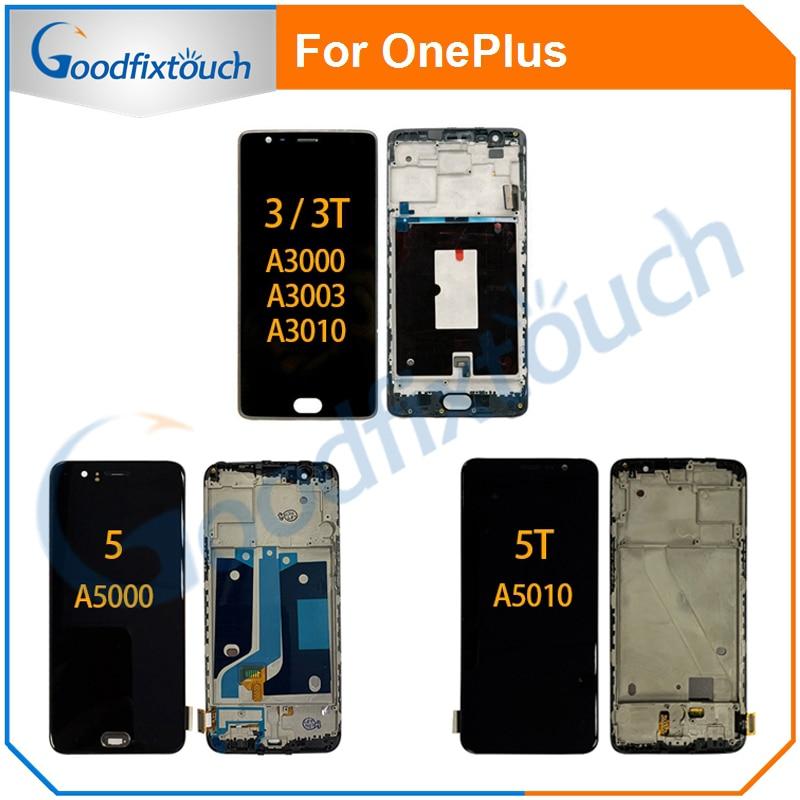 AAA LCD الشاشة ل OnePlus 3 3T 5 5T A3000 A3003 A3010 A5000 A5010 شاشة الكريستال السائل مجموعة المحولات الرقمية لشاشة تعمل بلمس مع إطار TFT