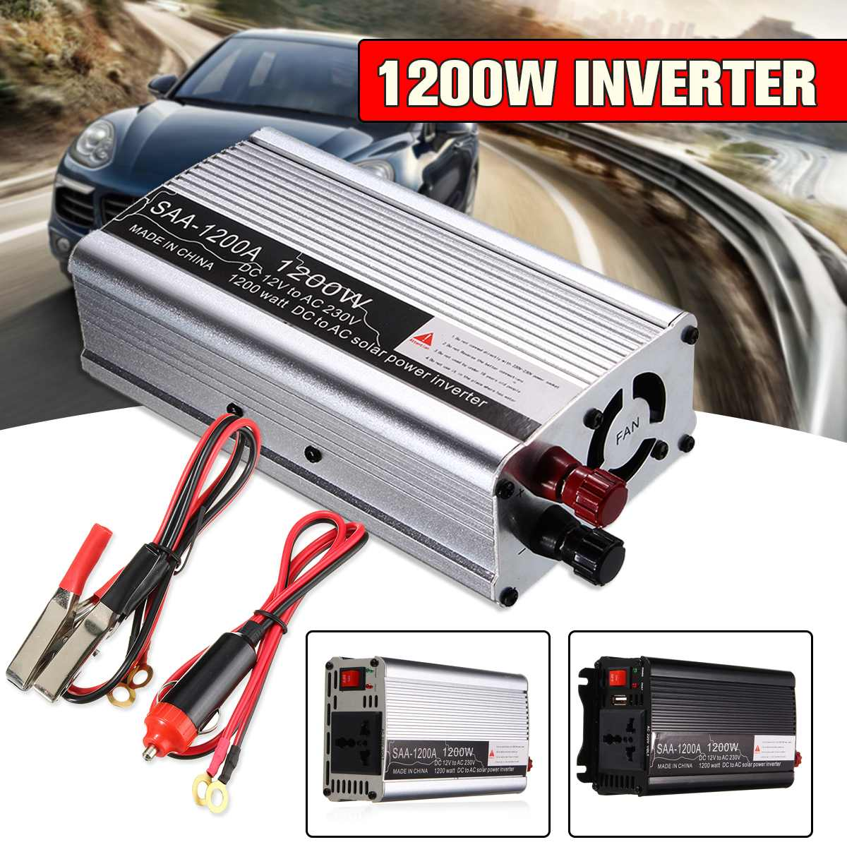 Inverter 1200W Watts USB Power Inverter DC 12 V to AC 220 Volt Car Adapter Charge Converter Modified Sine Wave Transformer