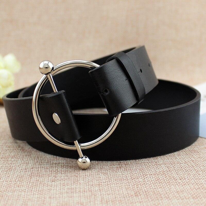 ¡Novedad de 2019! Cinturones de hebilla redonda de plata nueva para mujer, cinturones sexis para mujer sin pasador, hebilla de metal, correa de cuero negra, cinturones de mujer riemen
