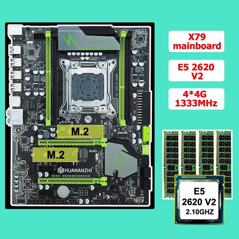 Скидка, материнская плата, процессор RAM set HUANAN ZHI X79, материнская плата с M.2 CPU Xeon E5 2620 V2 RAM 16G (4*4G) ECC REG 2 года гарантии