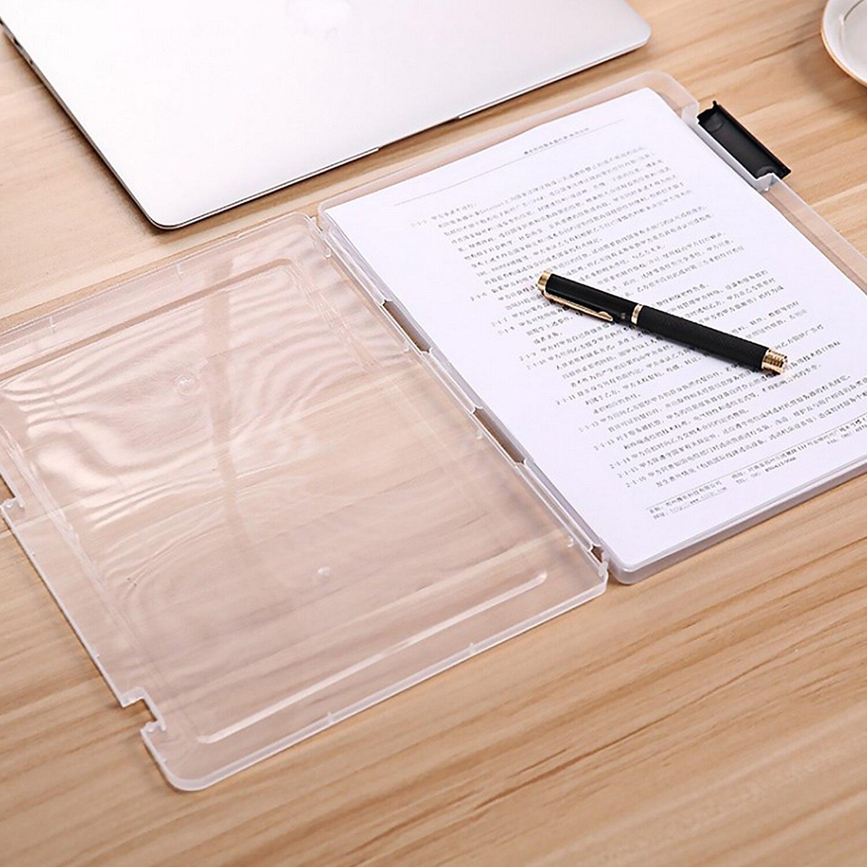 Caja de plástico transparente portátil de tamaño A4 para guardar documentos, caja organizadora, contenedor para el hogar, oficina, material para profesores