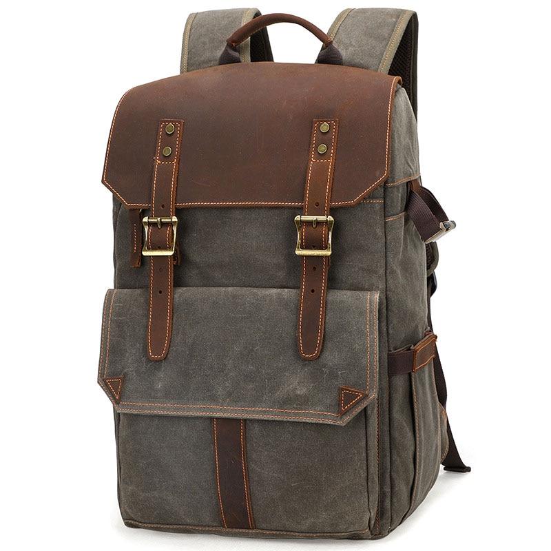 Outdoor Waterproof Photography DSLR Camera Backpack Wax Dye Canvas Video Digital Photo Bag Case Male Bags Mochila Masculina
