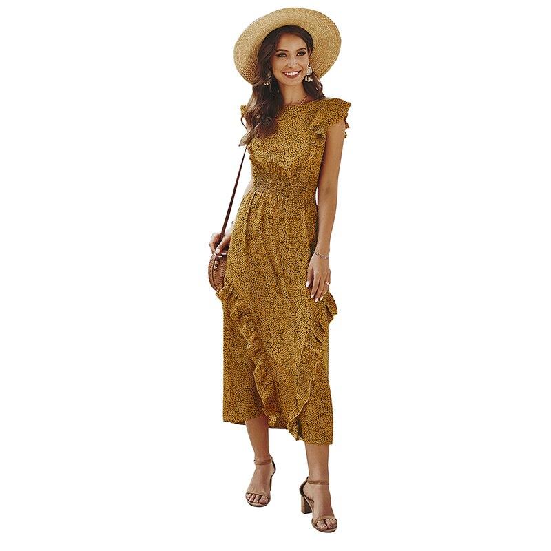 Original Designed Hot Sale New  Slim Ruffle Dresss Womens Elegant High Waist Spring Summer New Ruffle Chiffon Long Dress